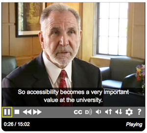 "Screenshot from the video with Michael Young stating ""So accessibility becomes a very important value at the university."""