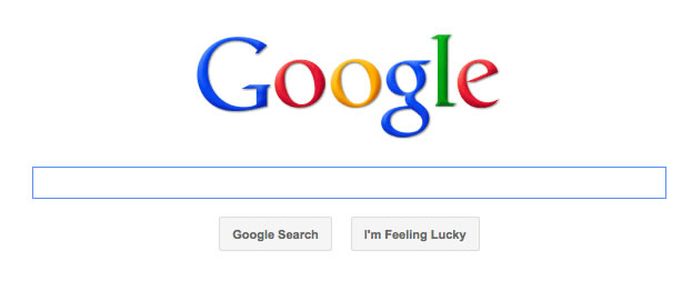Screen shot of the Google search screen, which has a famously clean and simple visual interface
