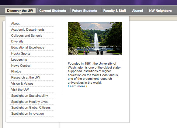 Screen shot of the University of Washington web menu, which includes rich multi-column dropdown menus with sub-menu items, images, and text