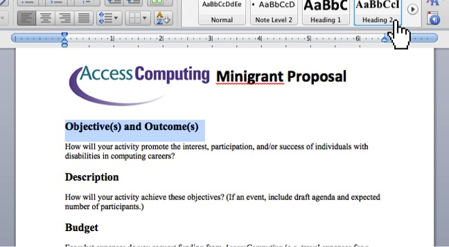 Adding headings in Word 2011 using Heading 1 and Heading 2 style buttons on the ribbon