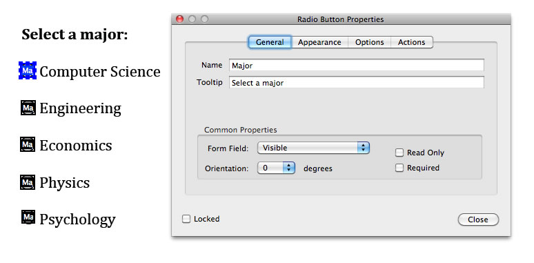 Screen shot of the same set of radio buttons in Adobe Acrobat Pro, with 'Select a major' entered into the Tooltip field in the Radio Button Properties dialog