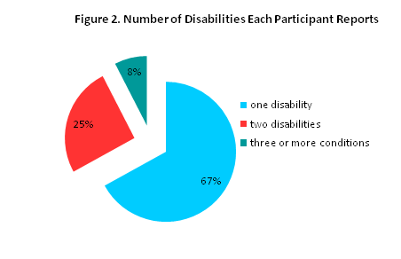 Bar graph of numbers of disabilities of each participant reports