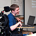 Image of a student presenting with accessible technology