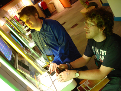 Photo of a several students observing a computer display
