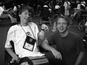 Photo of a DO-IT Scholar and a DO-IT staff member Scott Bellman