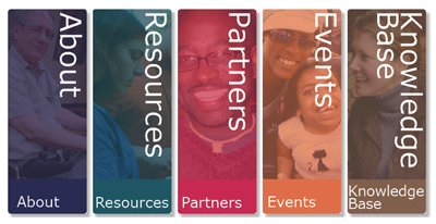 Image from the RDE website, feature five columns of categories: about, resources, partners, events, and knowledge base.