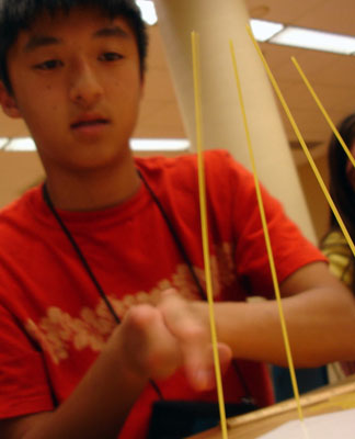 A student works on an engineering project.
